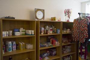 image of shelving in women's center