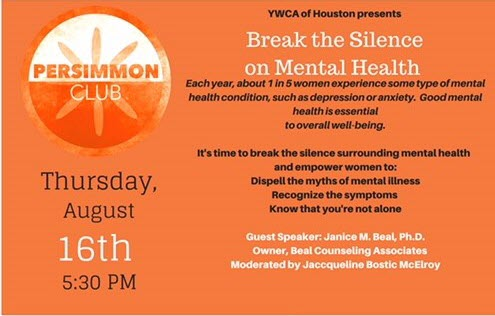 Persimmon Club-Cocktails and Conversation:  Break the Silence on Mental Health @ YWCA Houston