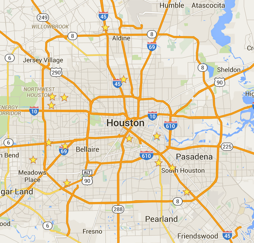 image of Houston map of senior centers